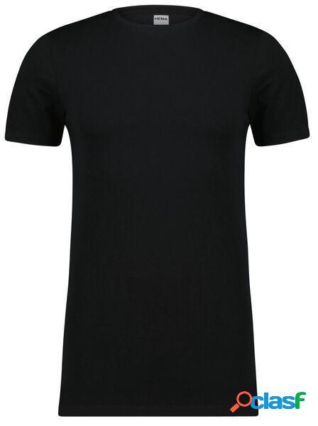 Hema t-shirt homme slim fit col rond - extra long noir (noir)