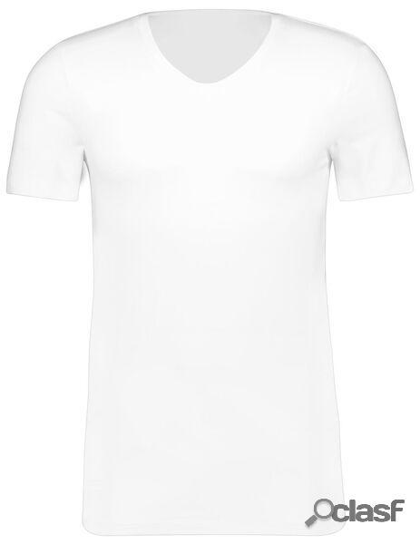 Hema t-shirt homme slim fit col en v - avec bambou blanc (blanc)