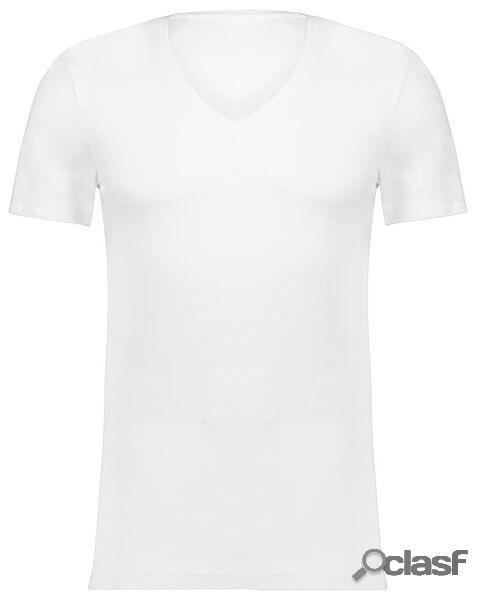 Hema t-shirt homme slim fit col rond - extra long blanc (blanc)