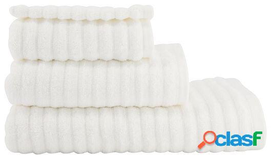 Hema serviette de bain qualité épaisse relief blanc (blanc)