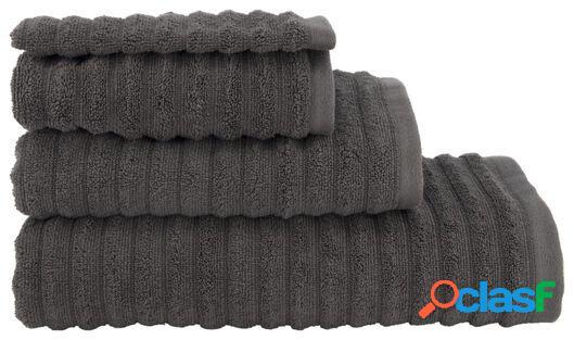 Hema serviette de bain qualité épaisse relief blanc gris foncé (gris foncé)