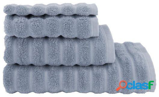 Hema serviette de bain qualité épaisse rayée bleu glacier (bleu)