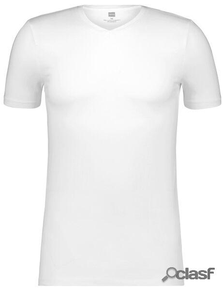 Hema t-shirt homme slim fit col en v blanc (blanc)