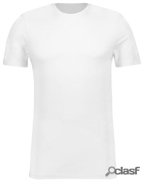 Hema t-shirt homme slim fit col rond - avec bambou blanc (blanc)