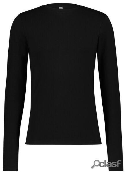 Hema t-shirt homme slim fit col rond - manche longue noir (noir)