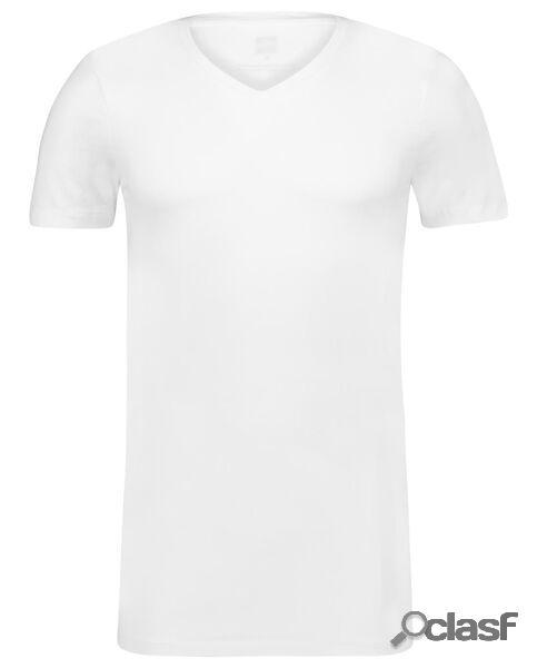 Hema t-shirt homme slim fit col en v - extra long avec bambou blanc (blanc)