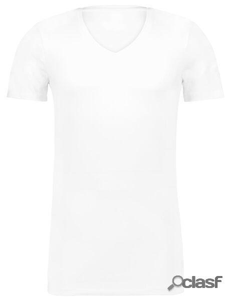 Hema t-shirt homme slim fit col en v profond - extra long blanc (blanc)