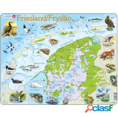 Puzzle Cadre - Carte de la Province de Friesland, Pays-Bas et ses Animaux (en Hollandais)