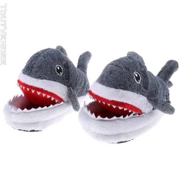 Pantoufles en peluche de requin drôle, chaudes et douces