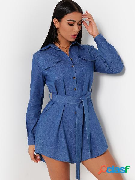 Light blue single breasted plain classic collar long sleeves self-tie design denim dress