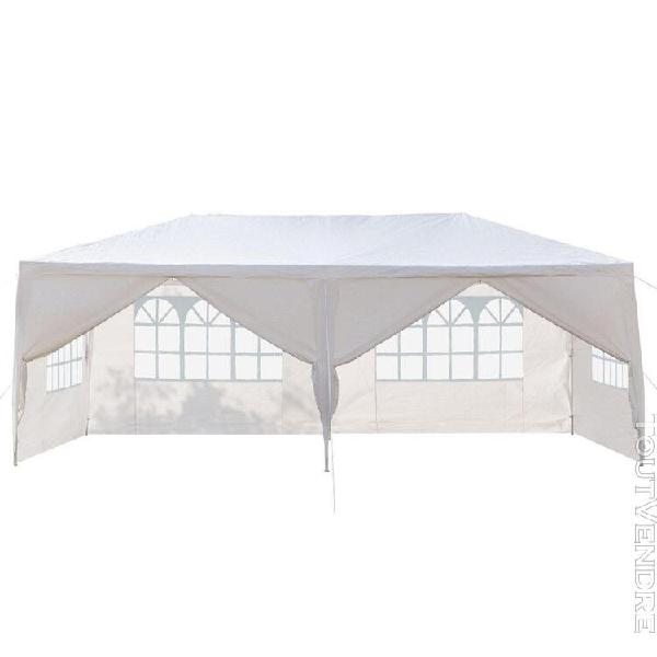 Tente imperméable 6 côtés 2 portes 3 x 6m - blanc
