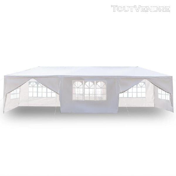 Tente imperméable 8 côtés 2 portes 3 x 9m - blanc