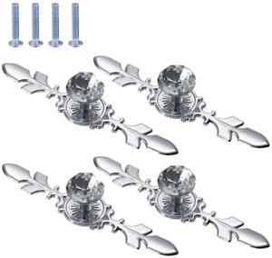 Boutons de tiroir en cristal, 4 pièces poignée traction
