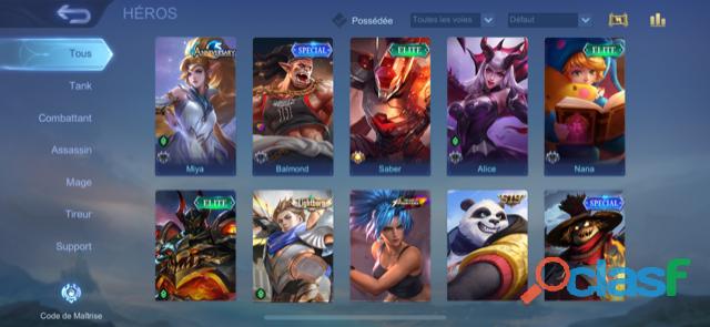 Compte Mobile Legends (level 84, 68 héros, 105 skins)