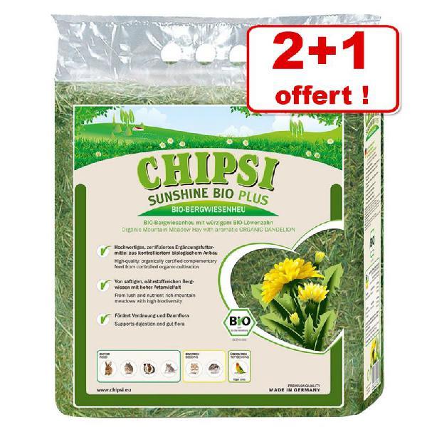 Foin de prairie chipsi sunshine bio plus 2 x 600 g + 600 g