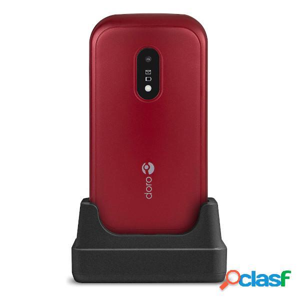 Doro 6040 téléphone portable avec couvercle dual sim rouge (red/white