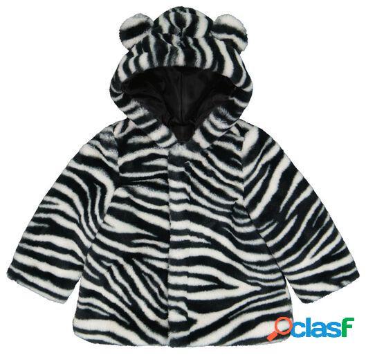 Hema manteau bébé en teddy zèbre noir (noir)