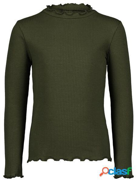 Hema t-shirt enfant côtelé vert armée (vert armée)