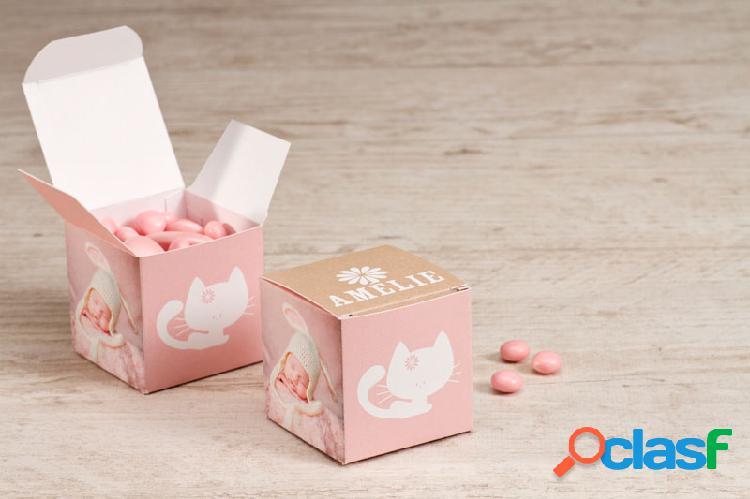 Boîte à dragées baptême petit chat rose avec photos