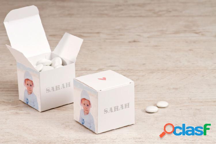 Boîte à dragées baptême petit cœur avec photos