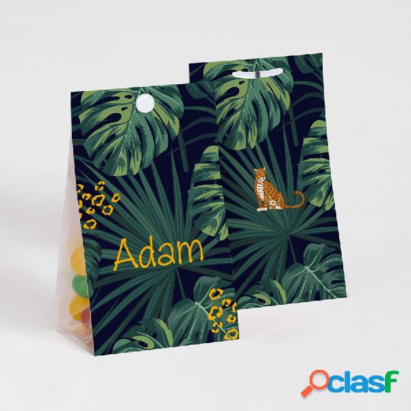 Contenant à dragées baptême guépard et forêt tropicale