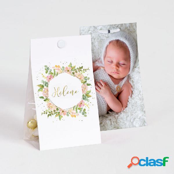 Contenant à dragées baptême fleurs aquarelle et dorure avec photo