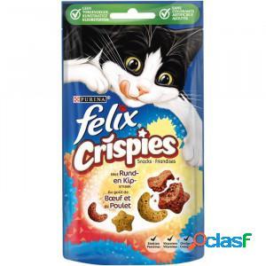 Felix crispies de boeuf et de poulet pour chat par 4