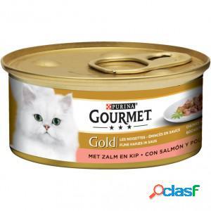 Gourmet gold chat tendres bouchées saumon et poulet 2 x 24 boites (85g)