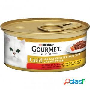 Gourmet gold chat cassolettes duo de viande à la sauce tomate 1 x 24 boites (85g)