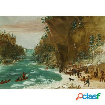 George Catlin: Campement de l'Expedition au-dessous des Chutes de Niagara. Le 20 janvier 1679, 1847