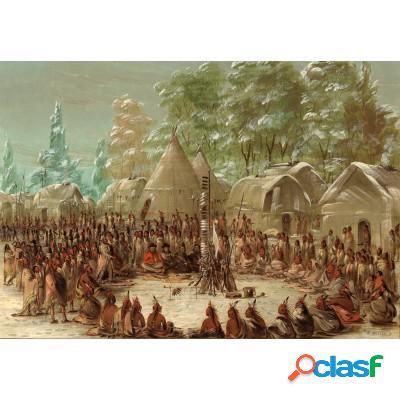 George Catlin: Fête de La Salle dans le village de l'Illinois. 2 janvier 1680, 1847-1848