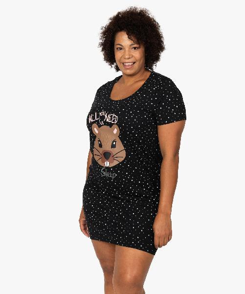 Chemise de nuit femme à manches courtes avec motif noir