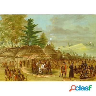 George Catlin: Chef des Indiens de Taensa recevant La Salle le 20 mars 1682, 1847-1848